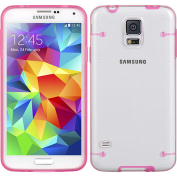 DW Premium Fusion Candy Case for Galaxy S5 - Hot Pink Trim/Clear
