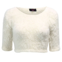 FLUFFY KNIT CROP JUMPER CREAM