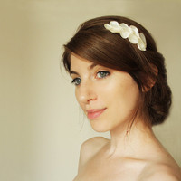 Troy Bridal Hair Comb, Ivory satin and pearl Greek inspired hair comb