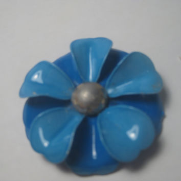 "Vintage 1960's Two-Tone Blue Enameled Large Floral Brooch, 2.25"", Boho, Hippie Style"