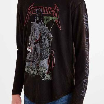 Metallica Curved Hem Long-Sleeve Tee- Black