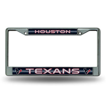 Houston Texans NFL Bling Glitter Chrome License Plate Frame