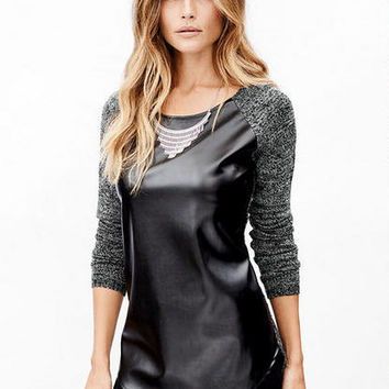 Faux Leather Front Sweater