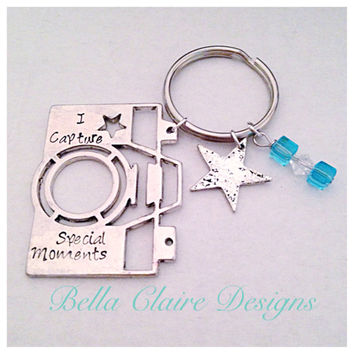 Camera Keychain, Hand Stamped Camera Keychain, Photography Keychain, Personalized Keychain, Special Memories Keychain, Photographer Gift,