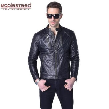 Factory Men Leather Jacket 100% Vegetable Tanned Sheepskin Black Slim Male Genuine Leather Jacket Men Leather Coat Autumn ZH027