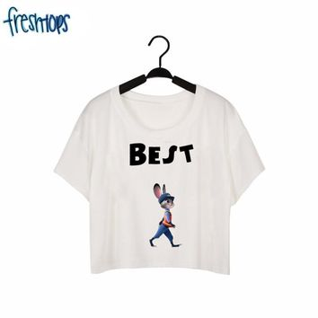 F1738 New Fashion Best Friend T-shirt For Girls A Walking Rabbit Funny Print Summer Crop Top White Casual Tees