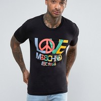 Love Moschino T-Shirt With Peace Logo at asos.com