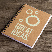 Great ideas, kraft paper note pad, paper notebook, pocket notebook, blank book, writing notepad, notebook journal, cogs green