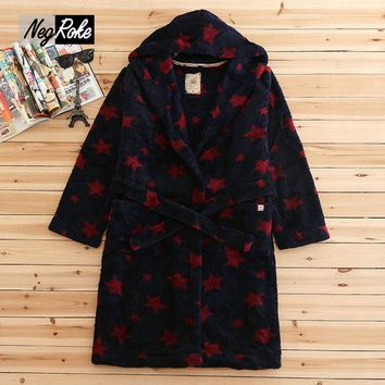 Plus size winter coral fleece mens robes stars printing long-sleeved hooded bathrobes for male dressing gown peignoir homme