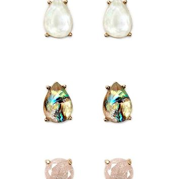 Faux Stone Stud Earring Set