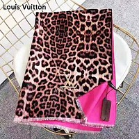 LV Louis Vuitton Fashion New Embroidery Letter Leopard Print Scarf Women