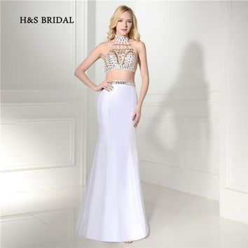 H&S Bridal White Halter Sexy Two Pieces Mermaid Prom Party Gowns 2017 Cheap 2 Pieces Backless Evening Dresses