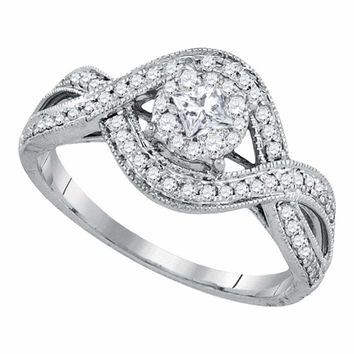 14kt White Gold Women's Princess Diamond Solitaire Twist Bridal Wedding Engagement Ring 1-2 Cttw - FREE Shipping (USA/CAN)