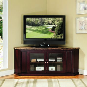 Acme 91055 Nevin collection corner unit espresso finish wood with faux brown marble top tv stand entertainment center with glass front center cabinet