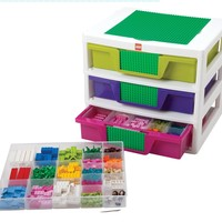 IRIS LEGO Friends 3-Drawer Sorting System with Large Building Base Plate and 4 Removable Divider Trays:Amazon:Home & Kitchen