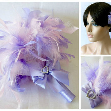 Bridesmaids Hair Accessory and Bouquet Package ,Wedding Bouquet, Feather Bouquet, Feather Fascinator, Pink Feather Bouquet, Lavender Bouquet