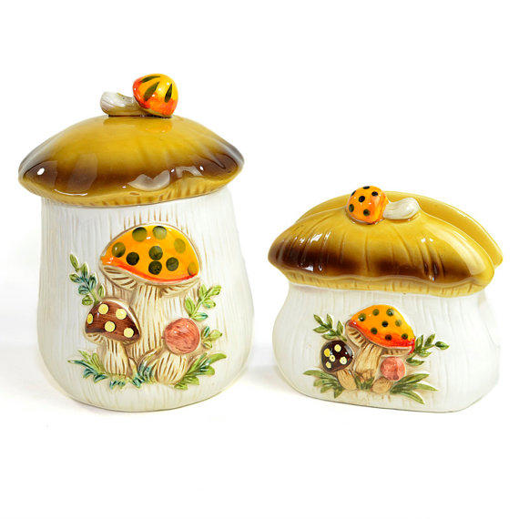 Vintage Mushroom Kitchen Decor: Merry Mushroom Canister Jar & Napkin From One Rusty Nail