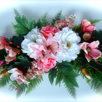 Silk Floral Swag on Artificial Fern Base with Pink Magnolias and White Peony Flowers