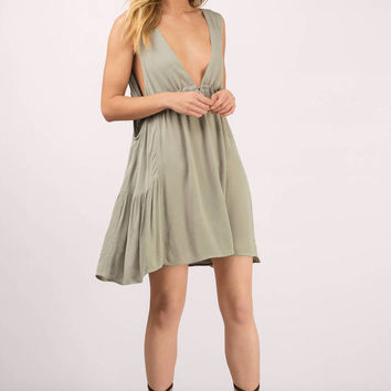 Embrace The Plunge Low Back Skater Dress