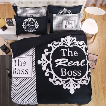 Brief 3D Couple's Bedding Set The Real Boss Pattern Duvet Cover Set Soft Flat Sheet Black White Pillow Case Queen King Size