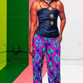 Seshe High Waisted African Print Wide Leg Pants