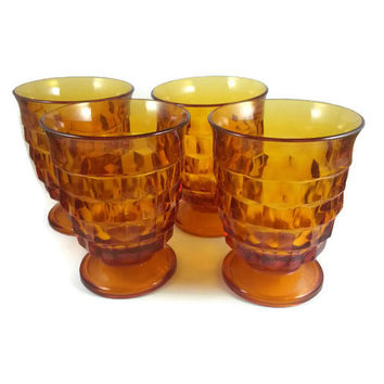 Amber Whitehall Juice Glasses, Indian Glass, Collectible Serving, Home Kitchen Decor, Retro Stemmed, Cubed Design, Stacked Cube Pattern