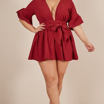 Over and Out Playsuit in wine Produced By SHOWPO