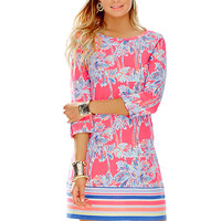 LINDEN DRESS - FLAMINGO PINK NICE STEMS ENGINEERED by Lilly Pulitzer available from Ocean Palm