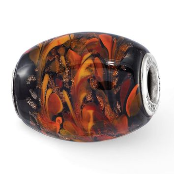 Fenton Sterling Silver Hand Blown Black/Orange Autumn Fires Glass Bead