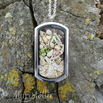 REAL SEASHELLS, Real corals, Real dried moss and Real sand in a two sided glass necklace. Silver mermaid CLOSED locket pendant necklace.