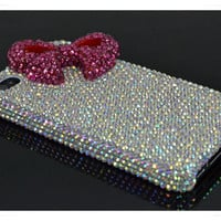 custom same design for iPod touch case, ipod touch 4th generation case, AB rhinestion swarovski hot Pink Bow ,iPod 5 Case, iPod touch 5 case