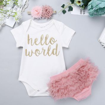 3pcs Infant Baby Girls Hello World Outfit Short Sleeves Romper with Bloomers Headband Set