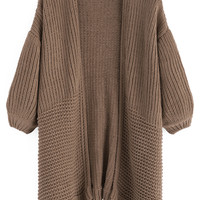 Brown Knit Long Sleeve Cardigan