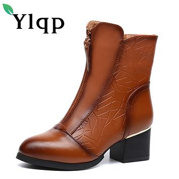 Ylqp 2017 New Female Winter Big Size Genuine Leather Ankle Boots For Women Fashion Med Heels Soft Plush Warm Boots Ladies Shoes