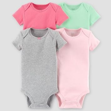 Baby Girls' 4pk Short Sleeve Bodysuit Set - Just One You™ Made by Carter's® Gray/Mint/Pink