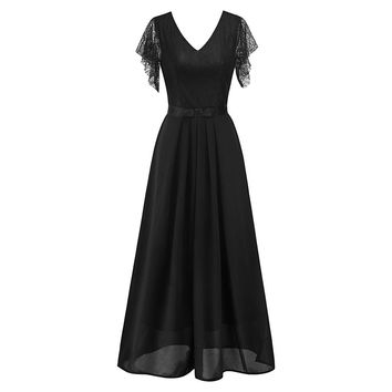 Women Lace Maxi Swing Dress Summer Mesh See-Through Sashes Vestidos Goth Evening Expansion Robe Fashion Party Long Dresses