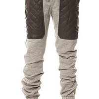 The Quilted Vegan Leather Pocket Sweatpants in Heather Grey