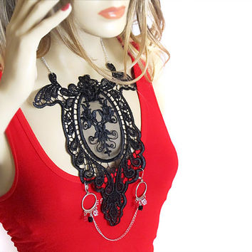 Lace Necklace, black lace, women accessories, Statement Necklace,  Lace Fashion, women, gift ideas, jewelry, necklaces, weddings, gifts,