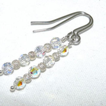 Swarovski Crystal and Surgical Steel Dangle Earrings, Sterling Silver Stardust Beads, AB Beads, Surgical Steel Wires, Drop Earrings