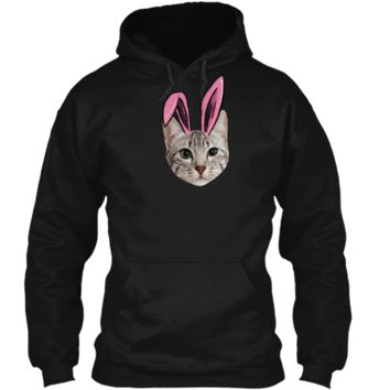 Easter Cat With Bunny Ears Funny Cat Lovers Easter T-Shirt Pullover Hoodie 8 oz