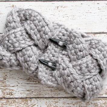 Gray Braided Crocheted Cowl Scarf, Womens Neckwarmer