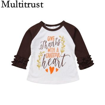 2018 Multitrust Brand Thanksgiving Toddler Kids Baby Girls Cotton Ruffle Tops T-shirt Blouse Autumn Heart Casual Clothes