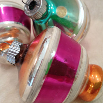 Trio of Pink, Orange and Green Shiny Brite Christmas Ornaments 50s