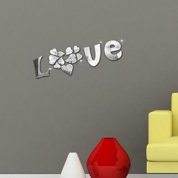 ONETOW DIY LOVE 3D Wall Stickers Mirror Sticker Home Livingroom Decoration mirror wall stickers home decor living room