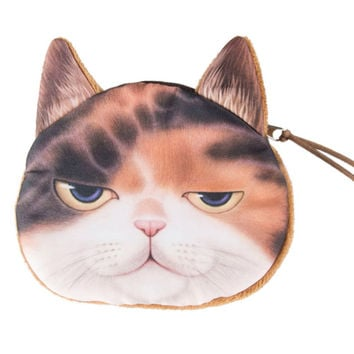 Chocolate Sleepy Cat Coin Purse