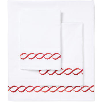 Melange Home Rope Embroidered Sheet Set - Red - Size Queen