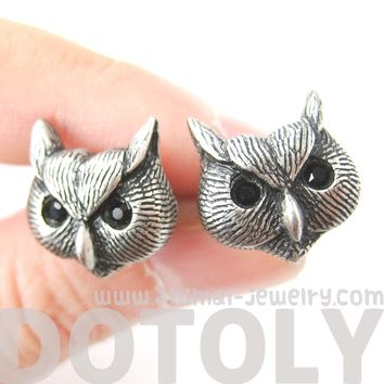Owl Bird Realistic Animal Stud Earrings in Silver | Animal Jewelry