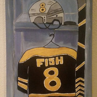Hand painted wood framed canvas - custom order hockey locker