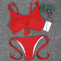 Sexy Fashion Red Strappy Beach Bikini Set Swimsuit Swimwear