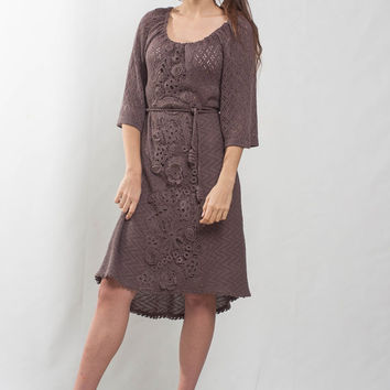 Irish lace crochet dress KNIT cocktail mini Dress lace viscose dress prom Crochet mocha Dress evening asymmetric dress irish lace Dress